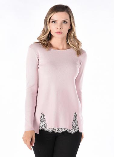 Optique Knitwear Düz V Yaka Uzun Kol Triko Kazak Pembe